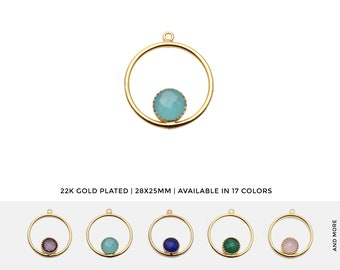 GemMartUSA Round Hoop Onion Shape Gemstone Necklace Pendant 50411 Jewelry Making Supply 20mm Faceted Gemstone Gold Plated Connector