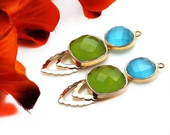 DIY Green Chalcedony Earring, Sky Blue Chalcedony, Dangle Connector, Gold Drop Earrings, Chandelier Finding Earring, GemMartUSA (GPDP-90002)