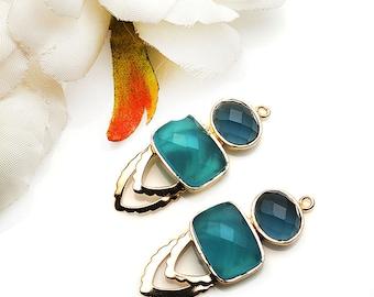 DIY Sky Blue Chalcedony Earring, Blue Topaz, Dangle Connector, Gold Drop Earrings, Chandelier Finding Earring, GemMartUSA (GPDP-90003)