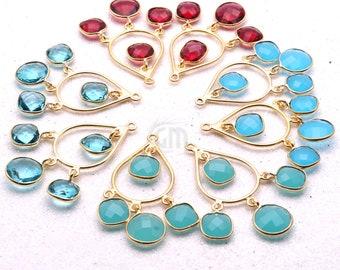 1 Pair DIY Gemstone Earring, Connector Earring, Chandelier Earring Finding, Earring Making, Gold Earrings Dangle, GemMartUSA (90108)