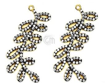 1pc GemMartUSA CHCZ-40175 Beautiful Cubic Zircon Pave White with Black Diamond /'Marquise/' Shape Charm Gold Vermeil 20x6mm size