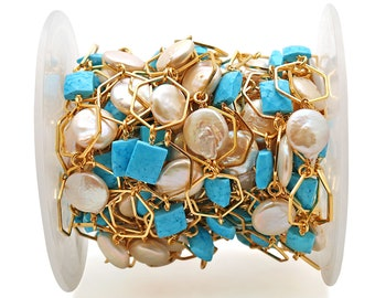 Station Chain Gold Chain GPMC-20073 Multi Stone Pear Beads Chain GemMartUSA Dangle Beads 7x12mm Multi Color Gemstone