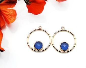1 Pair DIY Gemstone Earring, Gold Hoop Connector, Earring Hoops, Connector Earring, Chandelier Earring, Earring Making, GemMartUSA (90113)