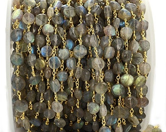 Coated Labradorite 3mm Beaded Chain,Blue Fire Labradorite Rosary Chains,Gold Plating Wire Wrap Chain,Brass chain,Jewelry Making Chain,Rosary
