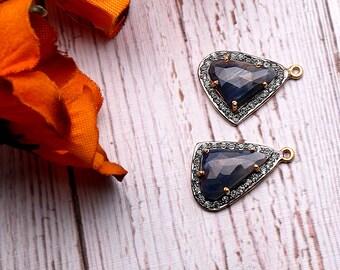 DIY Sapphire Earring, Cubic Zirconia, Gold Vermeil Earring, Earring Connector, Chandelier Earrings, 5 Prong Setting, GemMartUSA (SHCZ-90427)