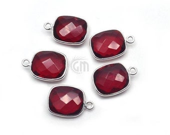 Price Reduced Ruby Red Round Circle Crystal Glass Silver Bezel Diamond Connector Special CC-0068 17x12mm Framed Glass Dangle 2 pcs