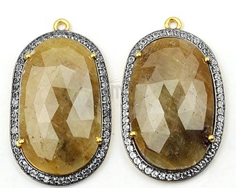 Single Bail White Topaz Pave Connector 1pair DIY Pendant WTWS-40083 25x21mm Gold Vermeil Sterling Silver Sapphire Earring Connector
