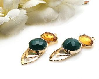 DIY Green Onyx Earring, Citrine Earring, Long Dangle Connector, Gold Drop Earrings, Chandelier Finding Earring, GemMartUSA (GPDP-90004)