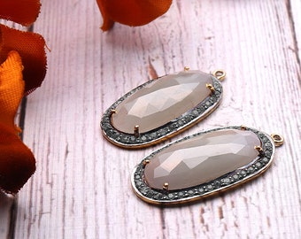 DIY Sapphire Earring, Cubic Zirconia, Gold Vermeil Earring, Earring Connector, Chandelier Earrings, 4 Prong Setting, GemMartUSA (SHCZ-90444)