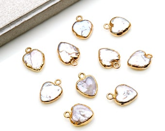 Pearl color 10x12mm back gold color 10 pcs Enameled Heart Charms