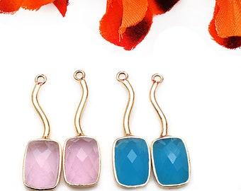 1 Pair DIY Gemstone Earring, Long Dangle Earrings, Long Connector, Gold Drop Earrings, Chandelier Earring, Earring Making GemMartUSA (90093)