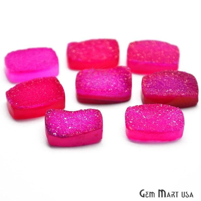 Druzy Cabochon Jewelry Making Supplies GemMartUSA Pink Druzy Cabochon ZCP-80035 10x14mm Octagon Druzy Cabochon