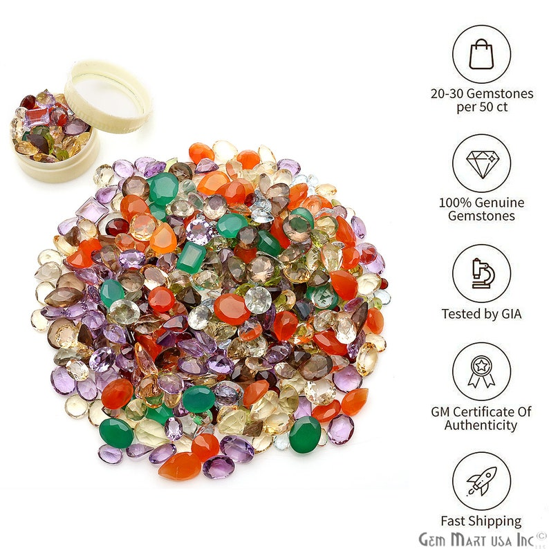 Mixed Loose Gemstones Mixed Gem Stone Multi Color Stone Mix image 0