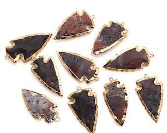 DIY Arrowhead Jasper Connector, Gold Earrings Connector, Gemstone Pendant, Bracelet Charms, Jewelry Making Supplies, GemMartUSA (GPAH-17336)