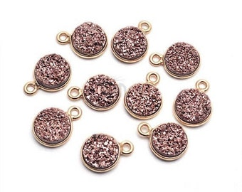 Rose Gold Druzy Connector, 8mm Round Shape Gold Plated Single Bail Connector Pendant GemMartUSA (RZ-11202)