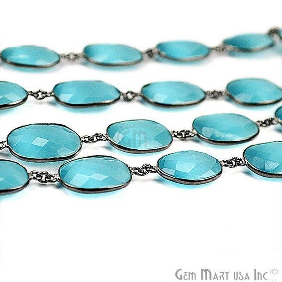 GPBY-20008 One foot Blue Topaz With Crystal Connector Chain 12mm Gold Plated Continuous Connectors Link Chain