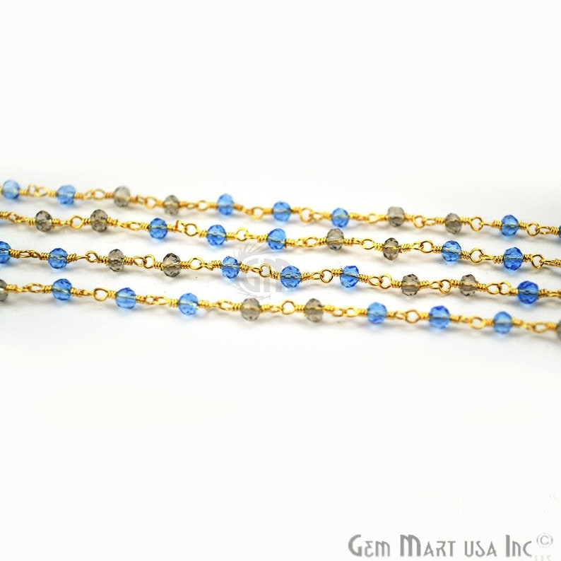 GPEI-30050 Tanzanite /& Iolite Zircon Faceted Beads Rosary 2.5-3mm 24k Gold Plated Wire Wrapped Rosary Chain GemMartUSA