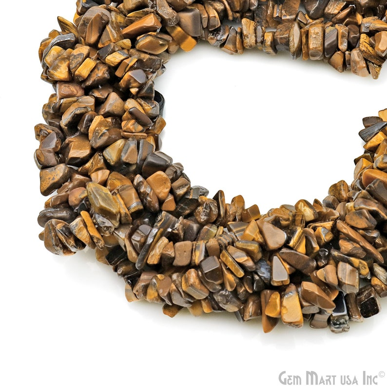 7-10mm Tiger Eye Gemstone Beads Tiger Eye Chip Beads Strand Gemstone Nugget Beads GemMartUSA CHTE-70004