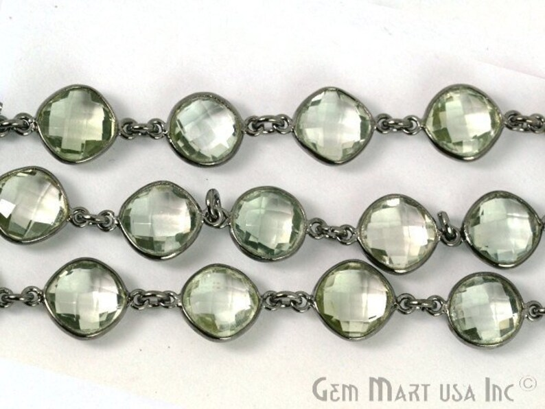 BPGA-20005 One Foot Beautiful Green Amethyst appx Stone size 10mm Oxidized Bezel Continuous connectors Chain