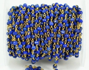 Lapis beads rosary chain, 4mm Gold Plated wire wrapped link Stone rosary Chain GemMartUSA (GPLP-30003)