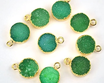 22k Gold Electroplated Light Green Druzy Connector, 10mm Round Shape Druzy Gemstone Connector Pendant 1pc (LEG-11089)