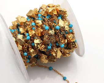 Turquoise Rosary Chain, Golden Pyrite Rosary Chain, Gold Plated Beads Chain, Gold Chain, Jewelry Making Supplies, GemMartUSA (GPTQ-30098)