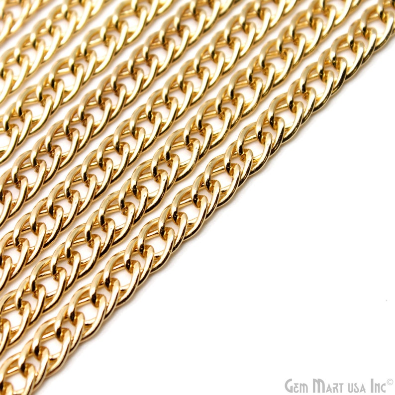 Necklace Chain Finding Link Chain GV-30034 GemMartUSA Gold Vintage Chain 7x10.5mm Gold Vintage Finding Gold Vintage Link Chain