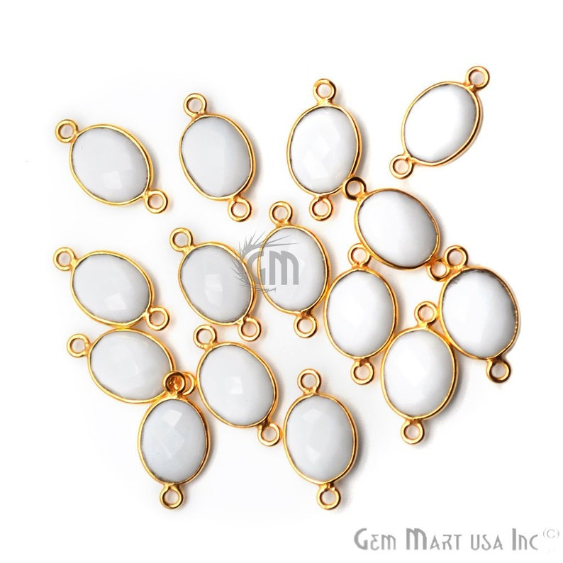 White Agate Connectors GemMArtUSA Jewelry Making Supply Gold Bail Connectors 8x10mm Oval Connectors WA-11542