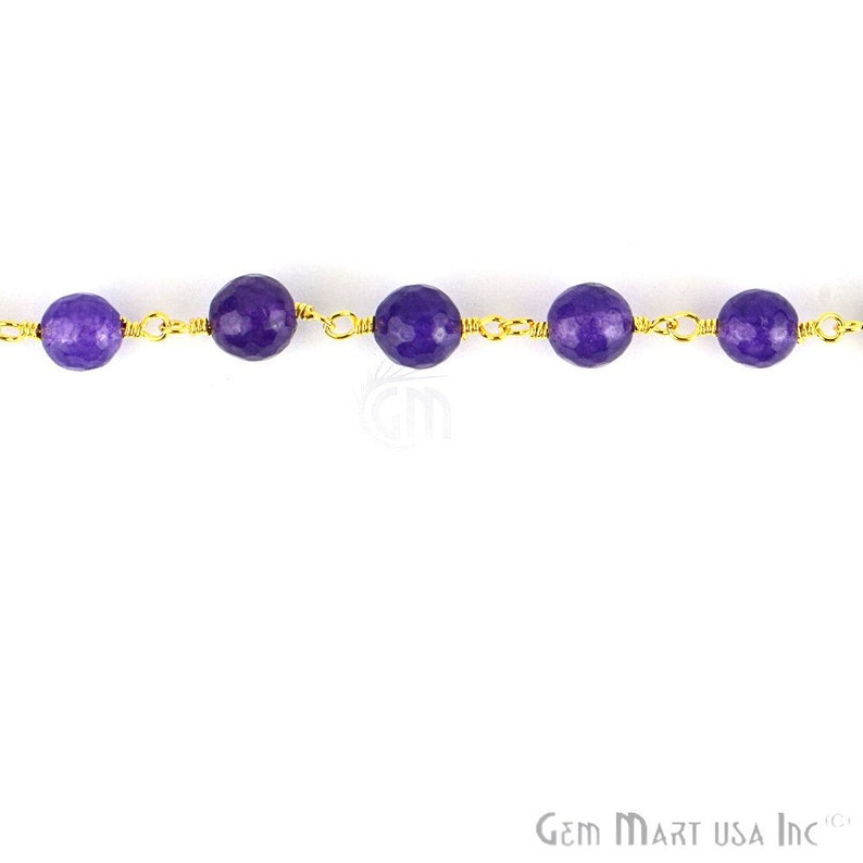 Amethyst Jade beads rosary chain GPAJ-30013 8mm Gold Plated wire wrapped link Stone rosary Chain GemMartUSA