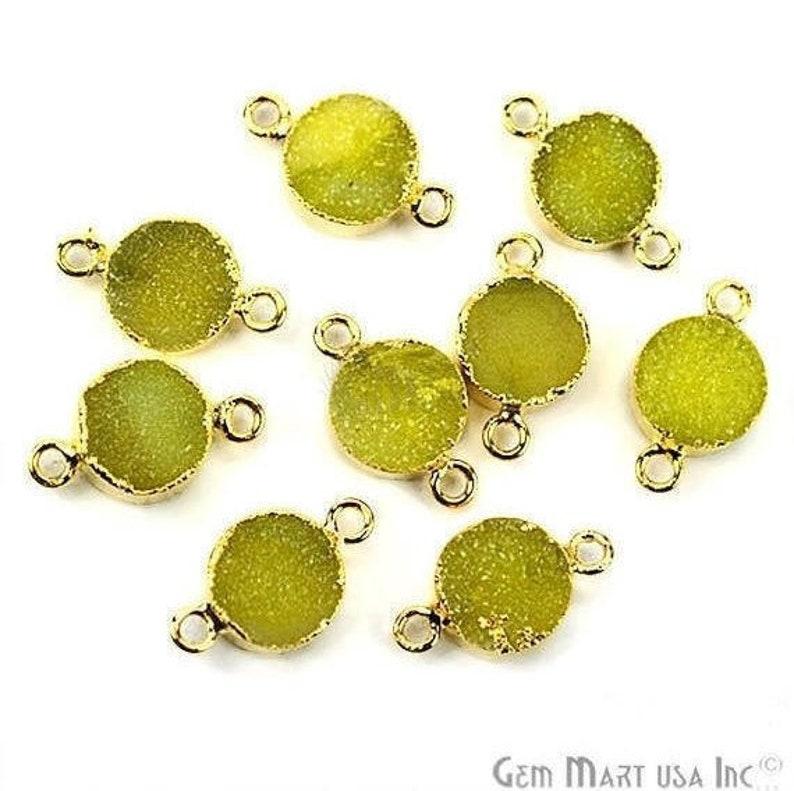 22k Gold Electroplated Lemon Druzy Connector, 10mm Round Shape Druzy  Gemstone Connector Pendant 1pc GemMartUSA (LED-11155)
