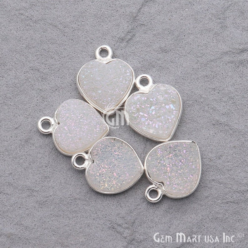Silver Plated Connector Jewelry Making Supply White Druzy Connector GemMartUSA Gemstone Pendant 10mm Heart Druzy Connector WZ-11263