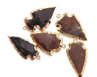 DIY Arrowhead Jasper Connector, Gold Earrings Connector, Gemstone Pendant, Bracelet Charms, Jewelry Making Supplies, GemMartUSA (GPAH-17337)