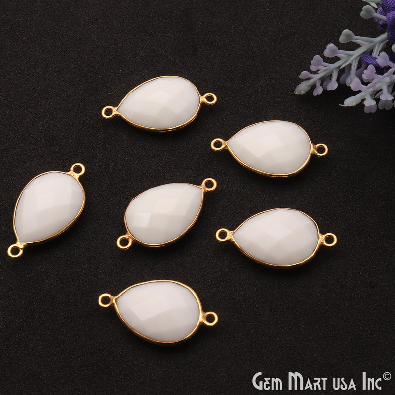 White Agate Gemstone Connector With Faceted Pear Shape in Gold Bezel Setting WA-10355 Double Bailed DIY Jewelry 18x13MM