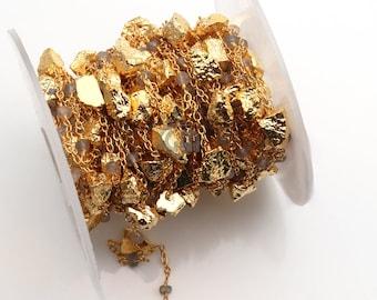 Labradorite Rosary Chain, Golden Pyrite Rosary Chain, Gold Plated Beads Chain, Gold Chain, Jewelry Making Supplies, GemMartUSA (GPLB-30098)
