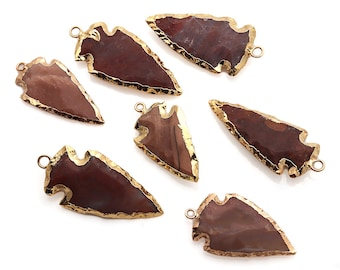 DIY Arrowhead Jasper Connector, Gold Earrings Connector, Gemstone Pendant, Bracelet Charms, Jewelry Making Supplies, GemMartUSA (GPAH-17333)