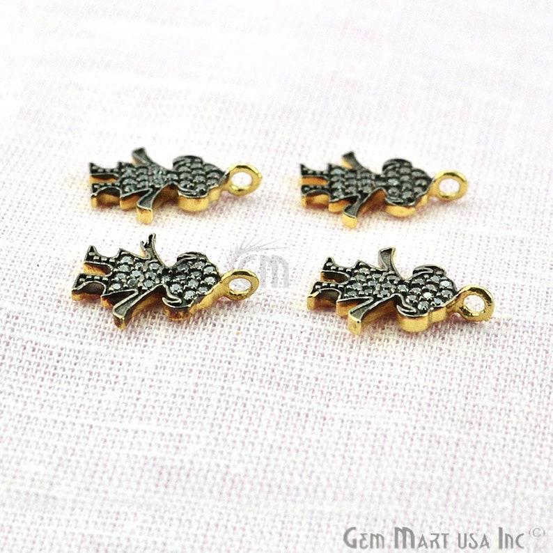 Cubic Zircon Pave Diamond /'Baby Girl/' Charm Pendant in Gold Vermeil 13mmx11mm size GemMartUSA CHCZ-40208
