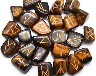 Tiger Eye Rune Stones, Rune Stones, Spiritual Stones, Rune Stone Symbols, Natural Gemstones, GemMartUSA (RNTE-15001)