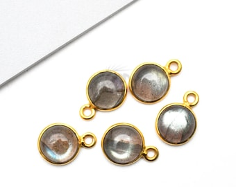 Labradorite Cabochon Connector, 10mm Round Gold Plated Connector, Gemstone Connector, Jewelry Making Supplies (LB-10708)