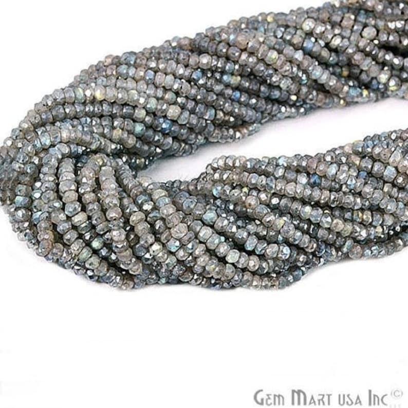 "Mystic labradorite  Rondelle Beads, Natural, Meditation Bracelet, Beaded Curtain, Mardi Gras, 3-4mm 13"" Length GemMartUSA (RLML-70002) photo"