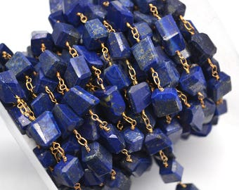 Lapis Rosary Chain, Rondelle bead Chain, Gold Plated Chain, Jewelry Making Supplies, DIY Jewelry GemMartUSA (GPLP-30042)