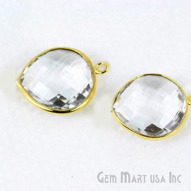 Single Flat Bail GemMartUSA Bezel Heart Shape Connector Natural Crystal CL-10073 16mm Heart 24k Gold Plated