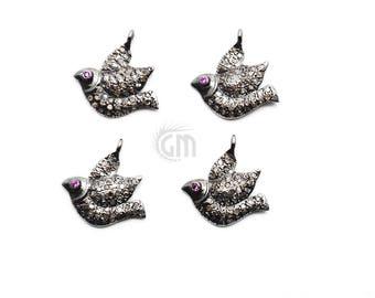 Bird Charm, Bird Diamond Charm, Sterling Silver Necklace Charm, Pave Charm GemMartUSA (NDCH-40134)
