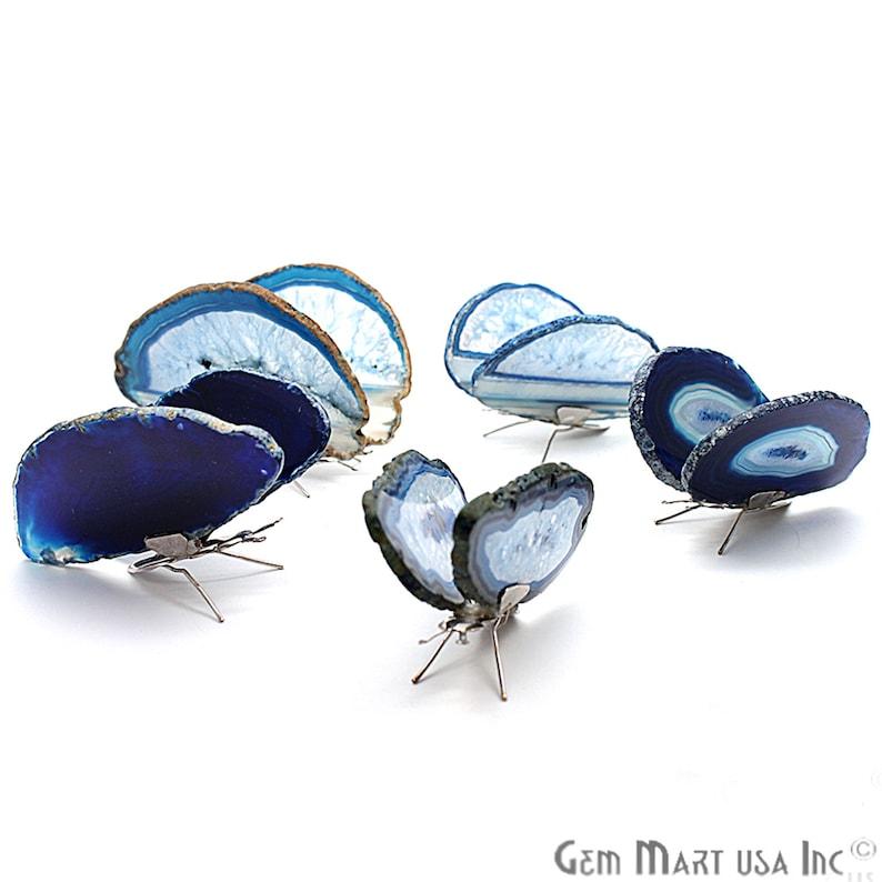 Blue Agate Slice Butterfly, Home Decor, Boho Decor, Agate Slice, Butterfly Wings, Agate Geode, Gemstone Butterfly (BFLY-10002) photo