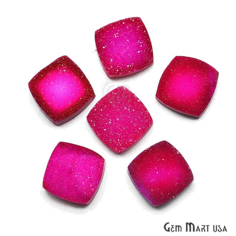 12mm Cushion Druzy Cabochon Pink Druzy Cabochon Jewelry Making Supplies GemMartUSA Druzy Cabochon ZCP-80002