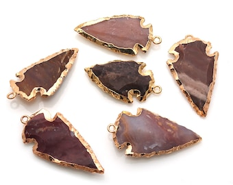 DIY Arrowhead Jasper Connector, Gold Earrings Connector, Gemstone Pendant, Bracelet Charms, Jewelry Making Supplies, GemMartUSA (GPAH-17334)