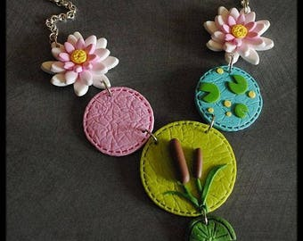 Necklace in polymer clay pond Lily lotus reeds decor