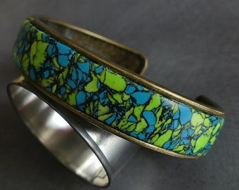 Lime green polymer open Bangle / turquoise