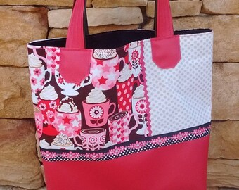 Tote bag raspberry gourmet patterns, cups, polka dots