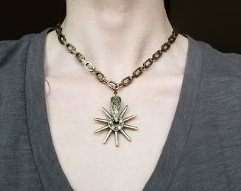 Brass Spur Necklace