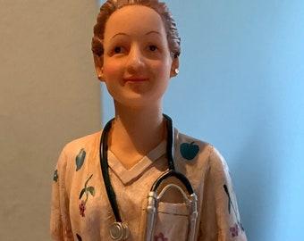 Nurse Figurine very detailed uniform cap stethoscope Medical Healthcare Caregiver